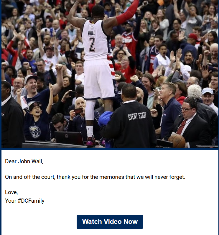 A Washington Wizards promotional email.