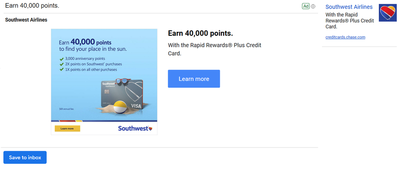 Southwest Airlines Email Newsletter