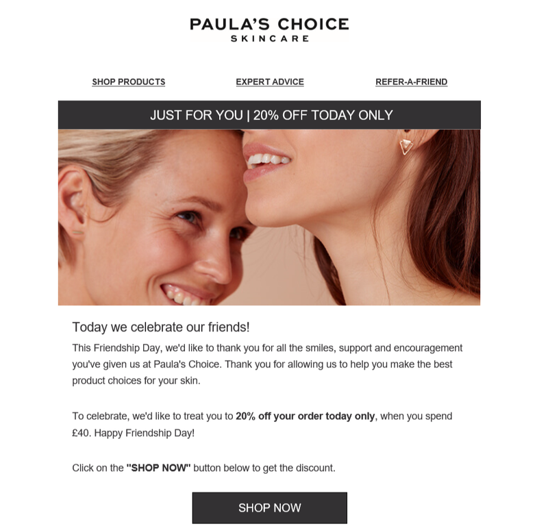 An email from skincare brand Paula's Choice providing a 20% discount code.
