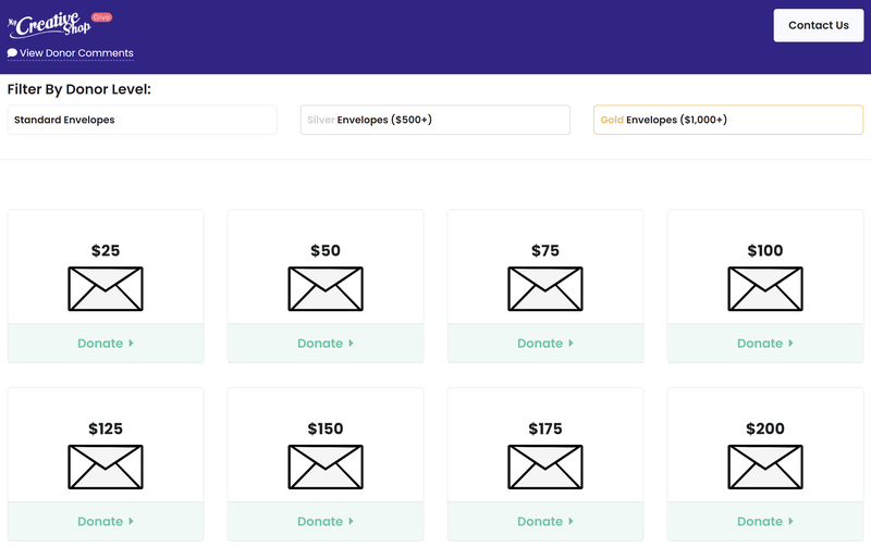 Screenshot of an example online envelope fundraiser through MyCreativeShop shows envelope graphics with donation amounts ranging from $25 to $200.