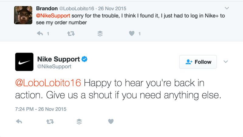 Nike's Twitter support responds to a customer issue. Source: NWTC Social Media