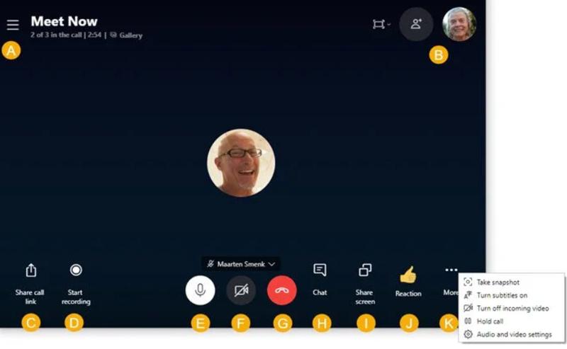 A screenshot of an active meeting on Skype.