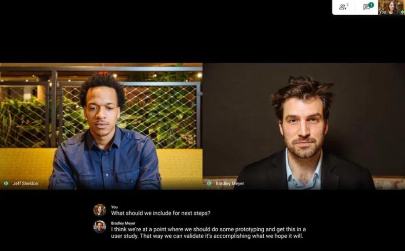 A screenshot of an active meeting in Google Meet.