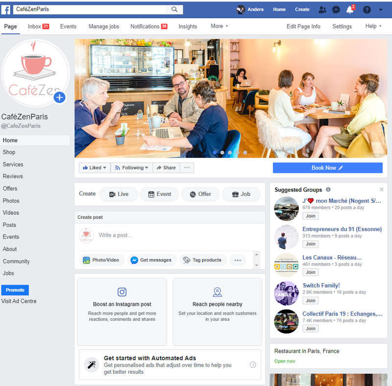 Screenshot of Facebook Business Page
