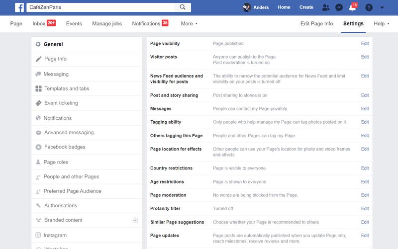 Screenshot of Facebook settings page