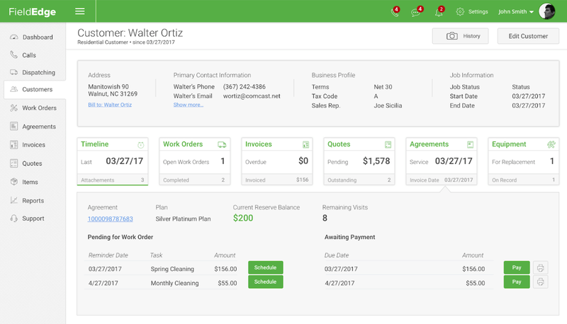 FieldEdge customer screen showing contact information, work order information, invoice & billing information, etc.