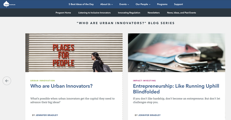 """Screenshot of the """"Who are Urban Innovators?"""" blog series from the Aspen Institute displays two articles geared toward supporting entrepreneurs."""