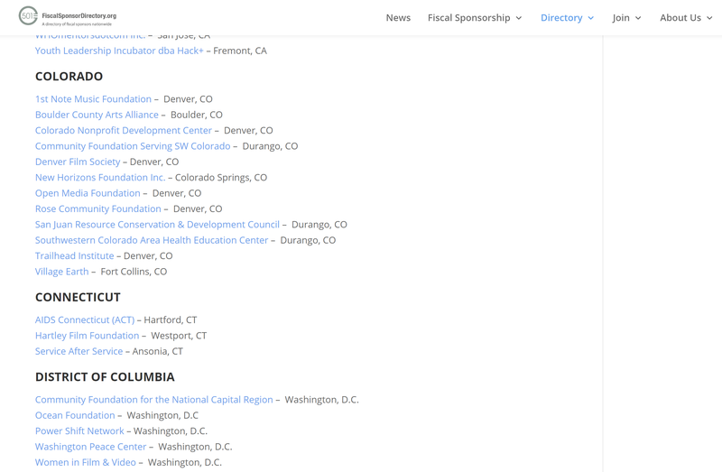 Screenshot of the Fiscal Sponsor Directory, showing a list of nonprofits in Colorado, Connecticut, and the District of Columbia.