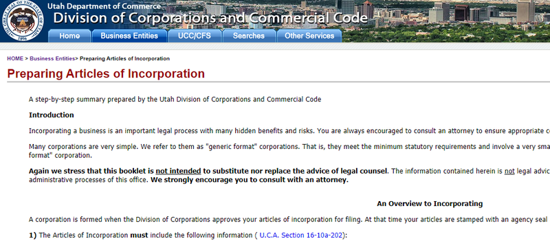 A screenshot of Utah's online business portal within the state Department of Commerce