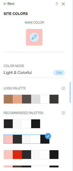 Wix's site colors toolbar, with the main color identified as pink, and various palette options below, including black, white, gray, and red complementary colors.