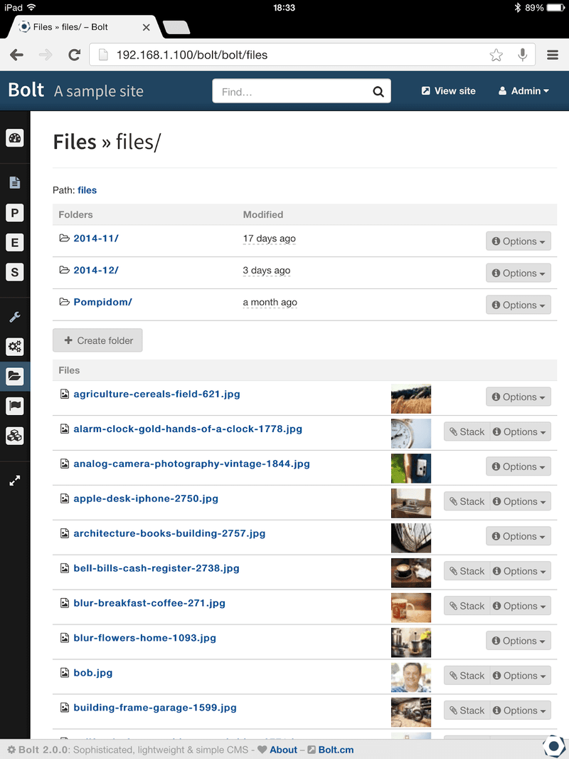 Bolt's file organization system and toolbars.