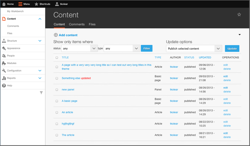 The content library page in Drupal.