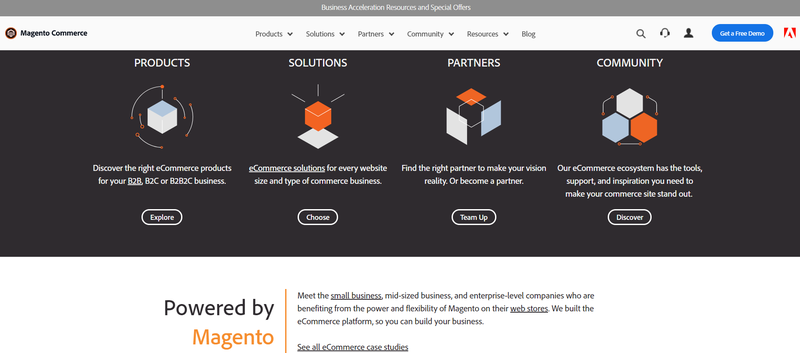 A screenshot of the Magento's solutions, products, community, and partners for small business owners.