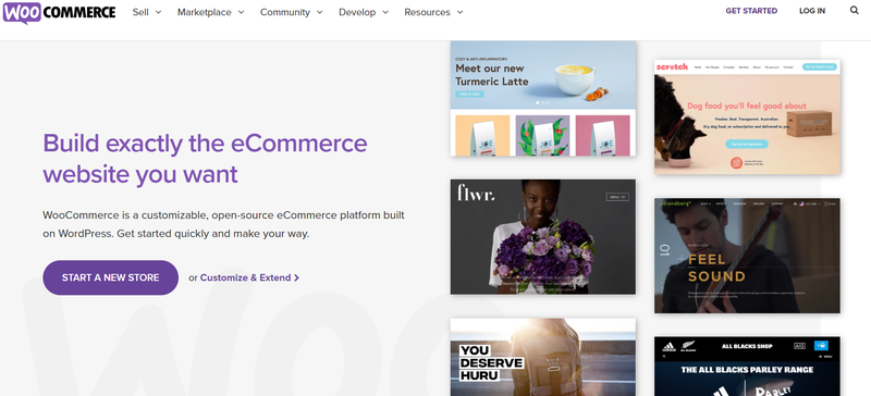 WooCommerce's front page showcasing websites designed with the tool
