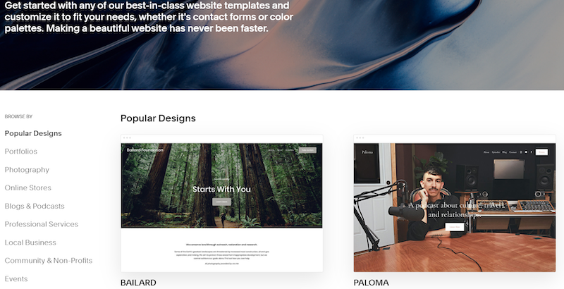 A screenshot of Squarespace's templates and design themes.