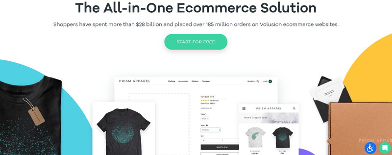 Volusion's free trial section encourages visitors to start building an e-commerce shop.