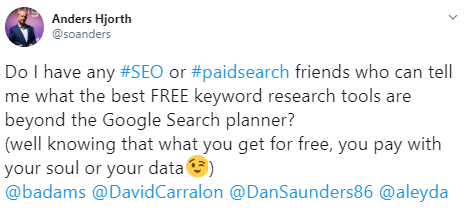 Screenshot of a Tweet asking the search marketing community for suggestions of free keyword tools.