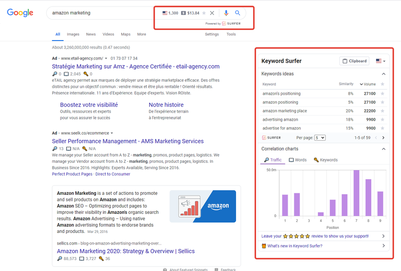 Screenshot of a Google search with Chrome showing the Keyword Surfer data overlay.