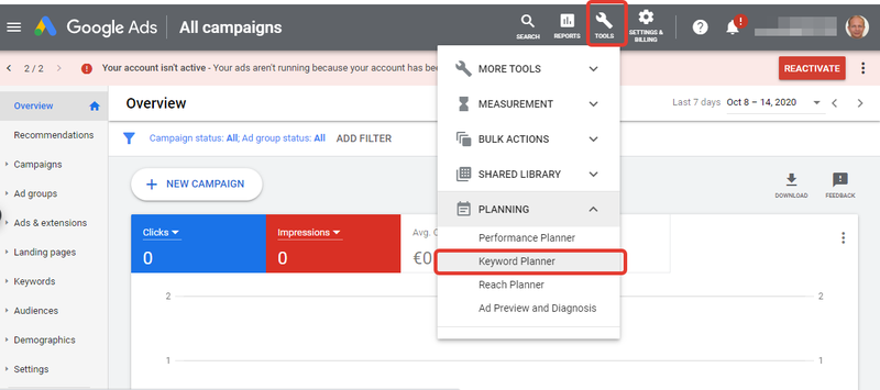 Screenshot from within a Google Ads account showing the Tools menu and Keyword Planner item.