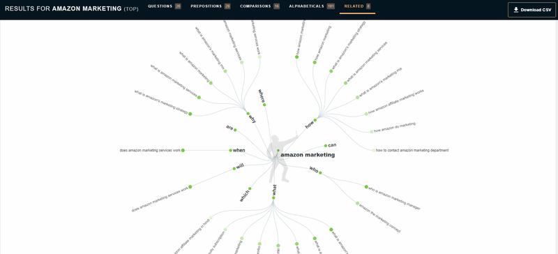 Screenshot of a keyword lookup with AnswerThePublic.