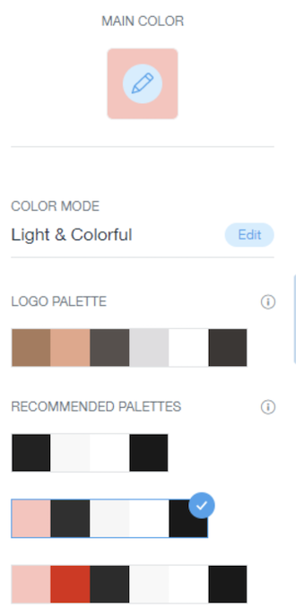 The Wix theme palette picker, with a main pink color-highlighted and recommended palettes below.