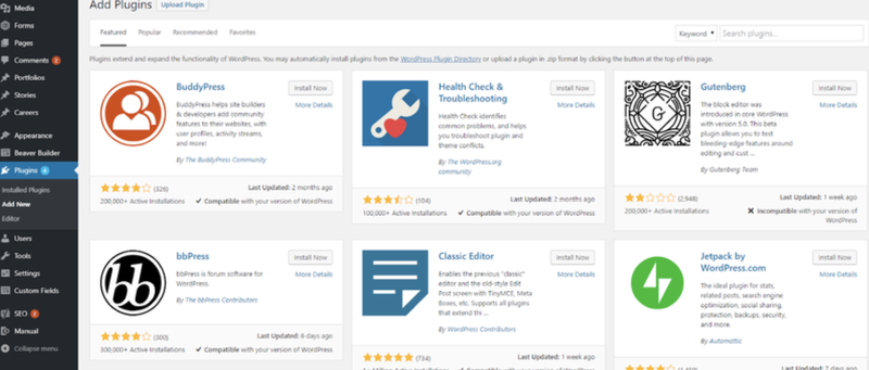 Screenshot of the WordPress plug-in library, with top featured integrations including editor options and troubleshooting.