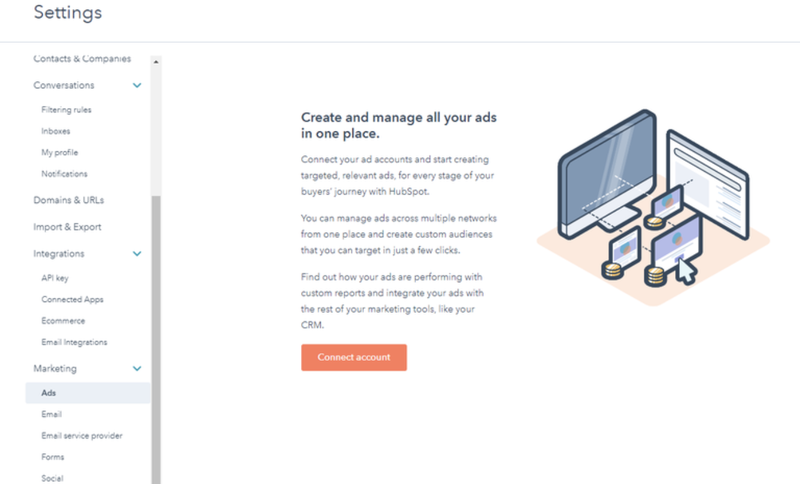 The marketing and ads settings section of HubSpot CMS, showing the left toolbar for other selections.