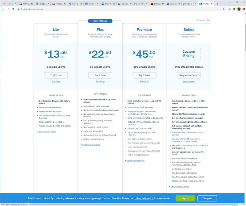 A screenshot of FreshBooks' pricing tiers.