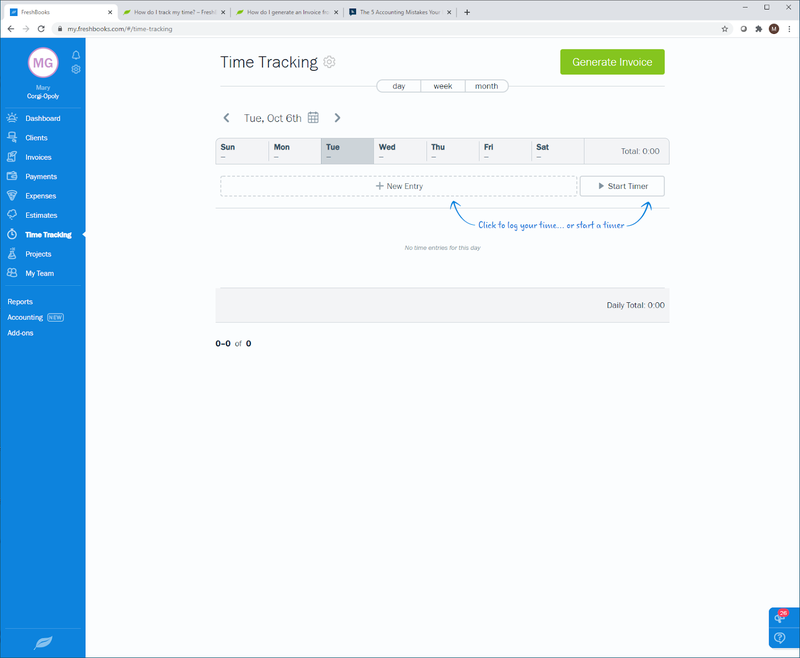FreshBooks time-tracking option with new entry and timer options.