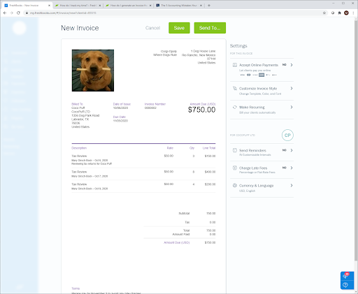 Completed invoice with time tracking.