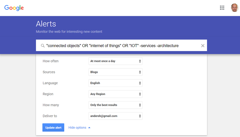 Screenshot of a complex query in Google Alerts.
