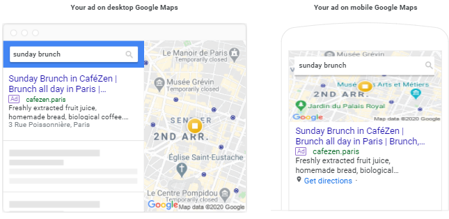 Desktop and mobile ad previews for Google Maps.