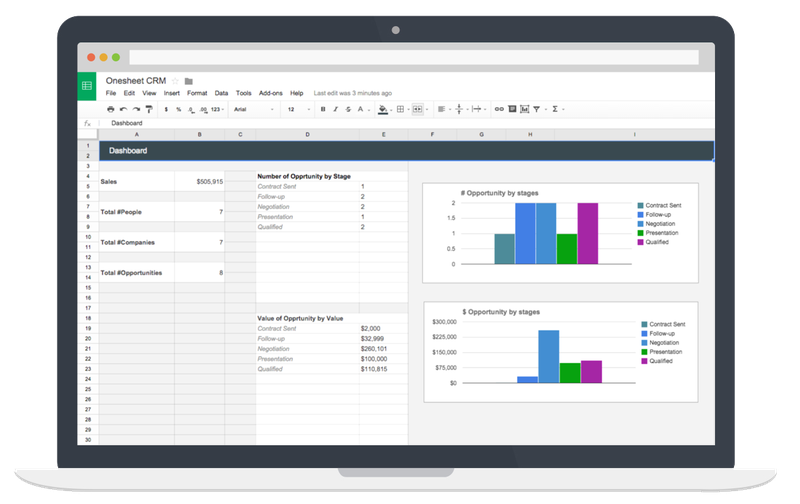The Onesheet CRM Google Sheets template.
