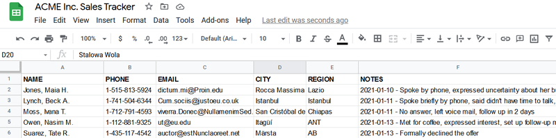 A Google Sheets spreadsheet used to track sales.