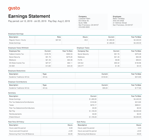 A portion of the earnings statement that includes payroll tax calculations.