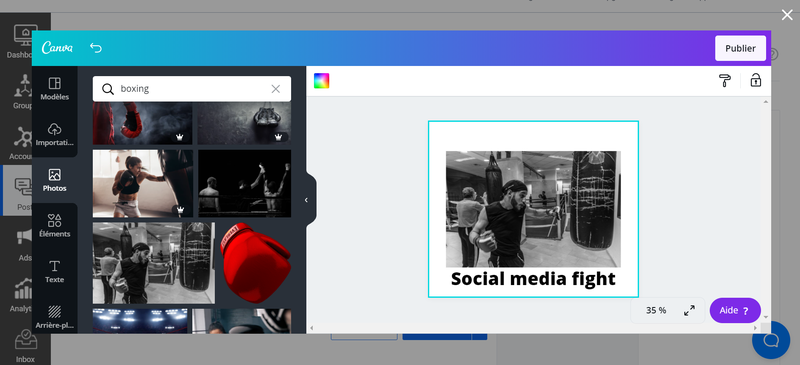 Screenshot from the SocialPilot interface with a Canva overlay for creating visuals.