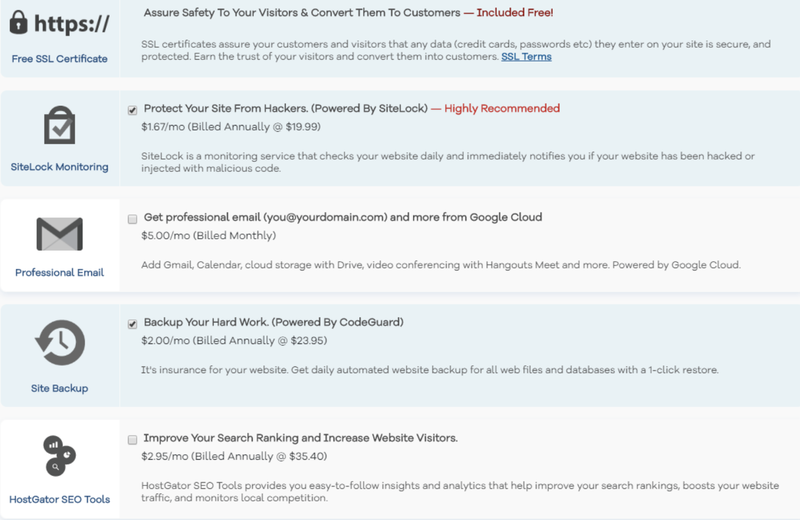 Details on the additional features and their pricing for expanding HostGator's capabilities.
