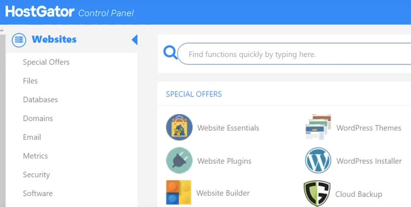HostGator's control panel menu for managing your hosting account with various colorful icons.