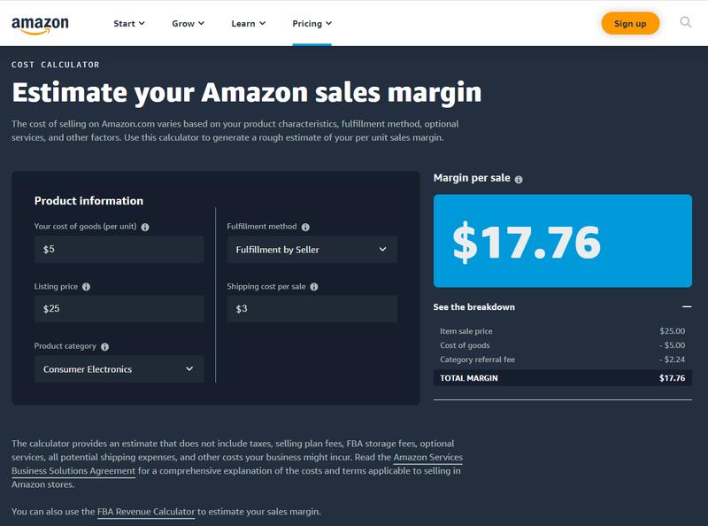 Screenshot from the Amazon cost calculator.