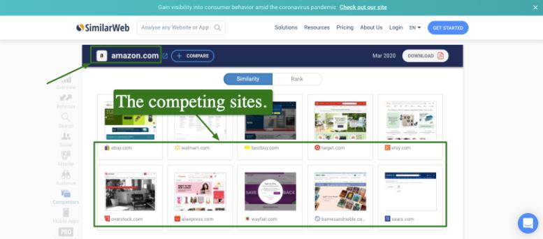 Screenshot of Similarweb's home page
