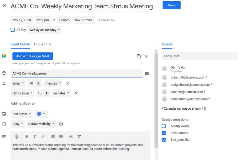A screenshot from Google Meet.