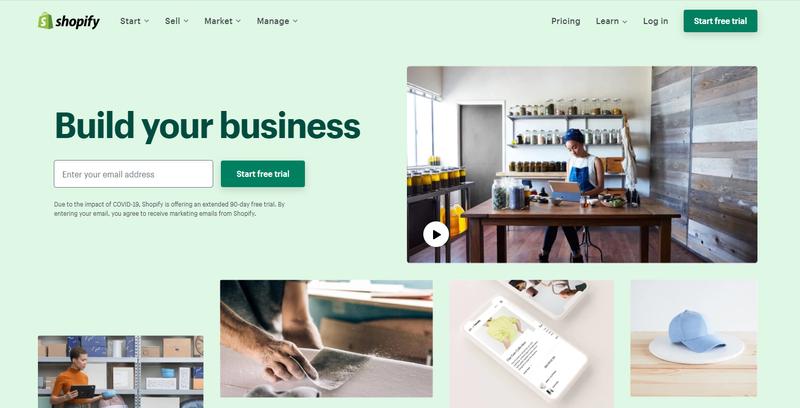 Screenshot of Shopify homepage