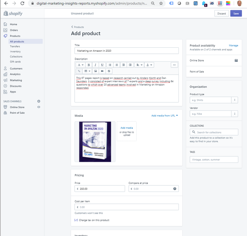 Screenshot of how to add a product on Shopify