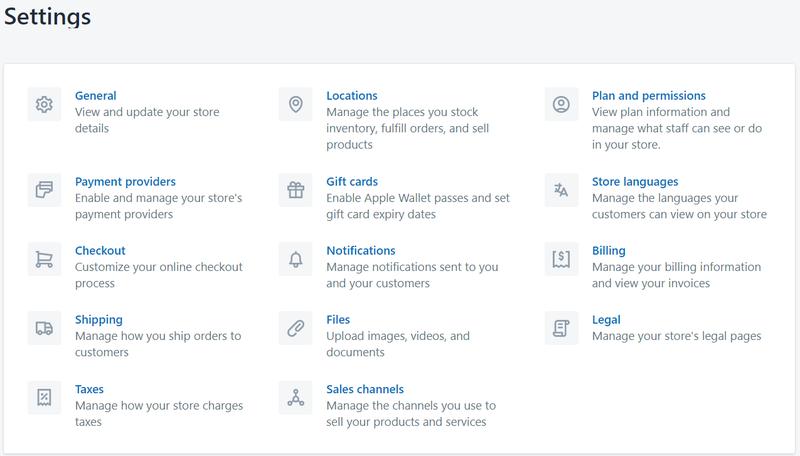 Screenshot of settings menu on Shopify