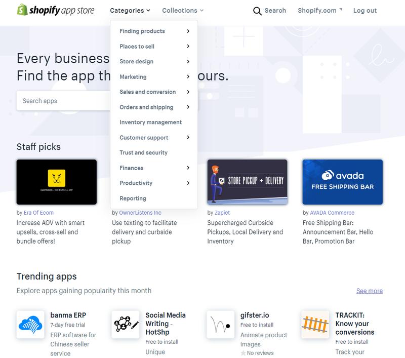 Screenshot of app store in Shopify