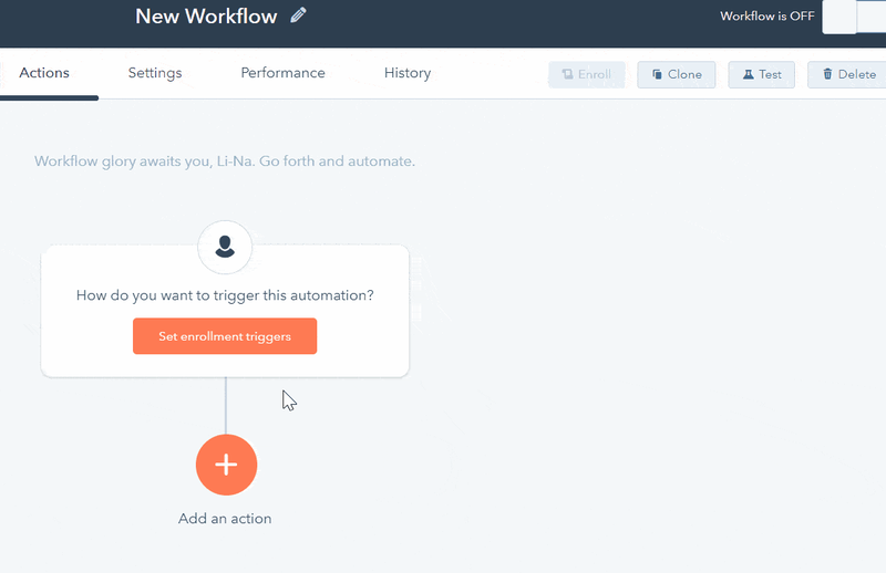 Hubspot CRM's workflow screen with buttons to set triggers linking to different actions.