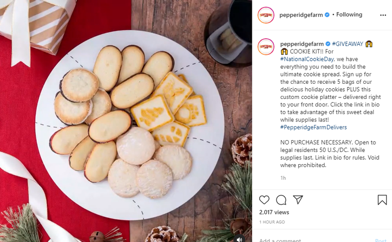 An Instagram post featuring a photo of a variety of Pepperidge Farm cookies on a platter.