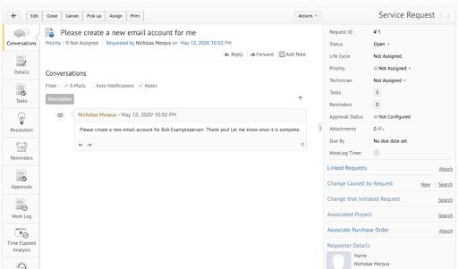 ServiceDesk Plus' user interface