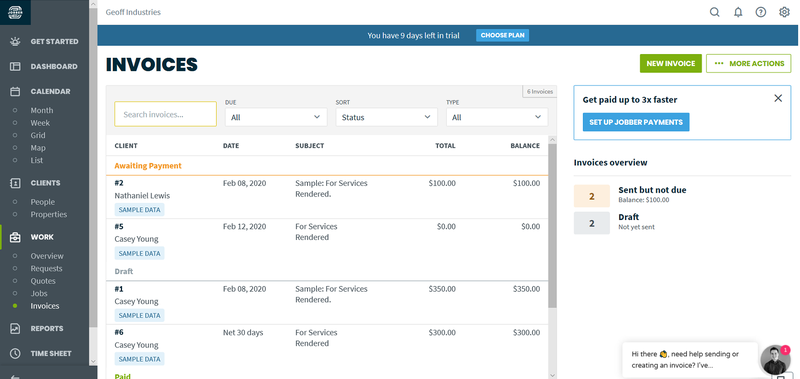 Jobber desktop view showing pending invoices with details about each client, date, total due, etc.