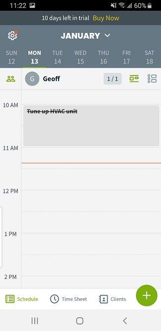 Jobber mobile screen of a technician's daily calendar.